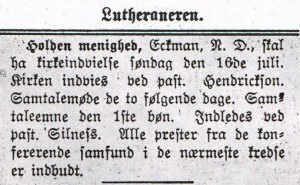 Advertisment about the opening of the church.